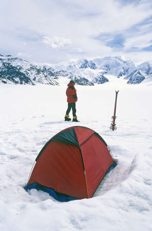 Ice camping on glacier in St. Elias National Park and Preserve, Wrangell Mountains, Wrangell, Alaska