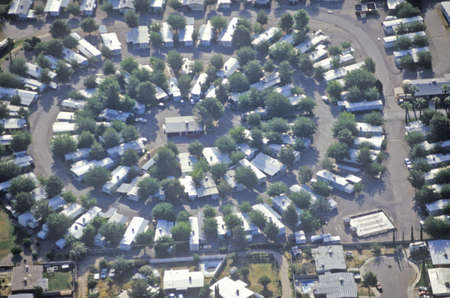 Aerial view of desert suburban homes in Tucson, Arizona