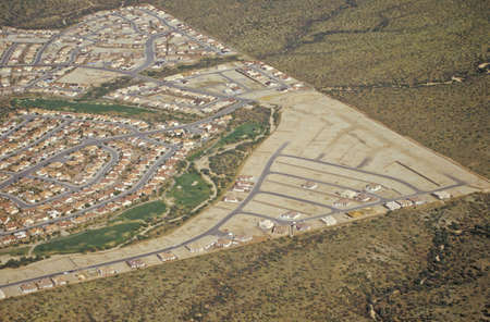 land use: Aerial view of desert land use in Tucson, Arizona
