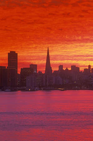 Sunset view of the San Francisco skyline from Treasure Island, San Francisco, California