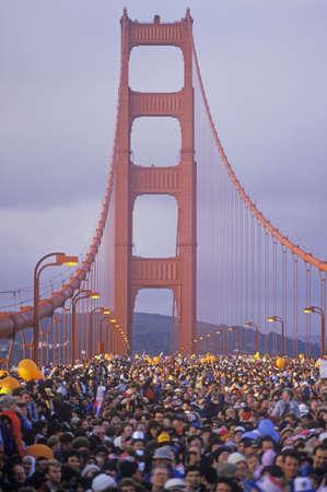 800,000 people cross the Golden Gate Bridge on the bridges 50th Anniversary, San Francisco, California Stock Photo - 20475738
