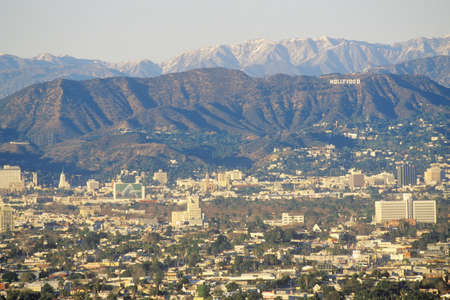 Snowy hills and Hollywood from Baldwin Hills, Los Angeles, California