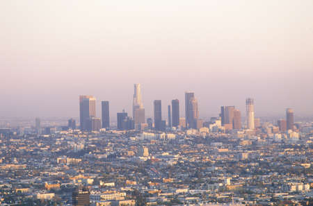New Los Angeles skyline with view of City Hall, Los Angeles, California