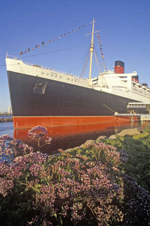 The �Queen Mary� ship docked in Long Beach, California