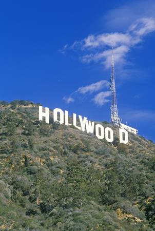 �Hollywood� sign on the hillsides of Hollywood, Los Angeles, California