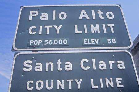 city limit: ÒPalo Alto City LimitÓ sign, Palo Alto, Silicon Valley, California Editorial