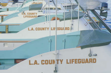 L.A. County Lifeguard boats in Marina Del Rey, California Редакционное