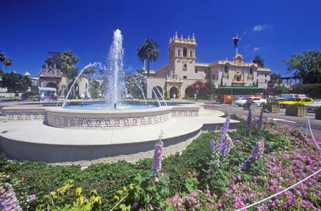 tourist feature: Fountain and flowers at Balboa Park Gardens, San Diego, California