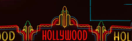 north hollywood: Neon Hollywood sign in panoramic format in Hollywood, Los Angeles, California Editorial