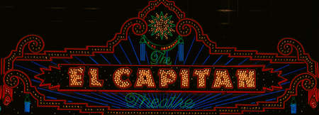 advertise with us: El Capitan Theatre sign in Hollywood, California