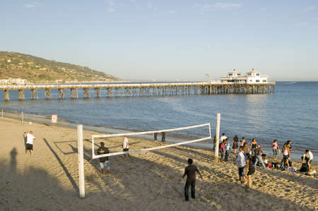remodeled: Volleyball game at the newly remodeled Malibu Pier, Malibu, California