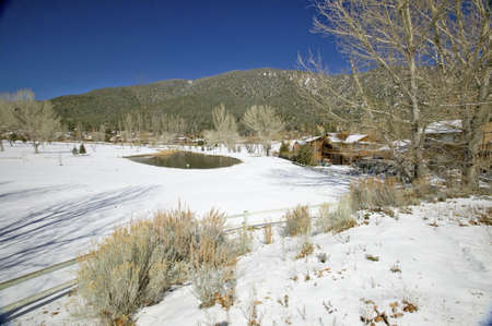 Snow on golf course in Pine Mountain Club, Kern County, Southern California