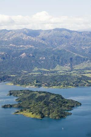 source: Aerial view of lake island within Lake Casitas in spring in Ventura County, Ojai, California