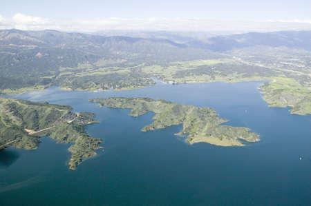 Aerial view of lake island within Lake Casitas in spring in Ventura County, Ojai, California