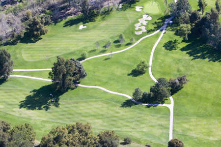 country club: Triangular aerial view of Ojai Valley Inn Country Club Golf Course in Ventura County, Ojai, CA Editorial