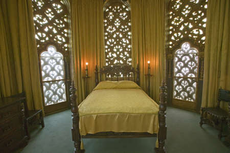 'William Randolph Hearst's bedroom at Hearst Castle, ''America's Castle,'' San Simeon, Central California Coast'