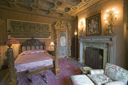 poster bed: Interior of guest bedroom at Hearst Castle, Americas Castle, San Simeon, Central California Coast Editorial