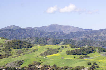 Elevated view of Lake Casitas and green fields in spring, shot from Oak View, near Ojai, California Editorial