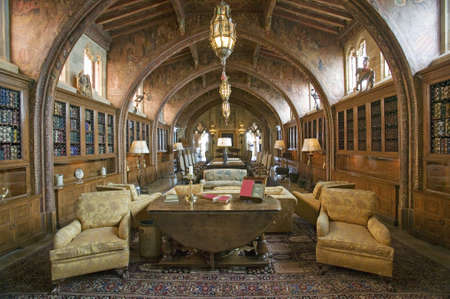 Gothic library of Hearst Castle, Americas Castle, San Simeon, Central California Coast Editorial