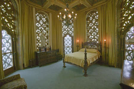 poster bed: William Randolph Hearsts bedroom at Hearst Castle, Americas Castle, San Simeon, Central California Coast