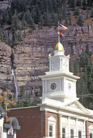 ouray: Little Switzerland, Walsh Library and Waterfall, Ouray, Colorado Editorial