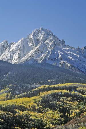 uncompahgre national forest: Wilson Peak in the Sneffels Mountain Range, Dallas Divide, Last Dollar Ranch Road, Colorado