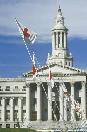 denver city and county building: Red Cross flags flying at  County Building, Denver, Colorado