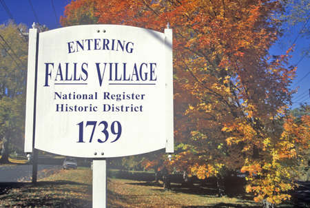 Fall colors in Falls Village along scenic highway, U.S. Route 7, Connecticut