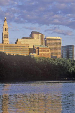 Sunrise on the Hartford skyline and Connecticut River, Hartford, Connecticut