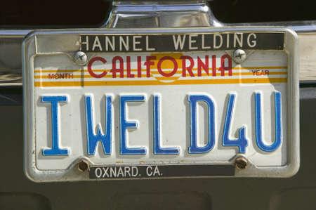 license plate: I Weld For You custom vanity California license plate