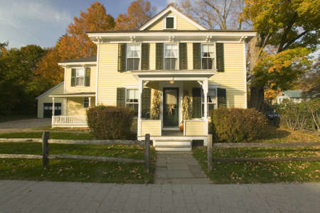 my home: Classic New England home in autumn in Connecticut Editorial
