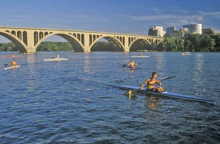 rosslyn: Kayaking on the Potomac and Francis Scott Key Bridge, Rosslyn, Washington, DC