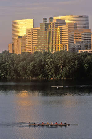 rosslyn: Sunrise on Rosslyn and Potomac River rowers, Rosslyn, Washington, DC Editorial