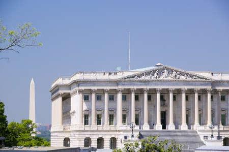 U.S. Senate side of U.S. Capitol with Washington Monument in background, Washington D.C..