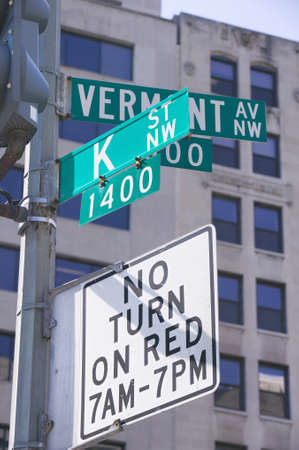 lobbying: K Street NW and Vermont in Washington D.C., symbolizing lobbying and corruption in nations capitol