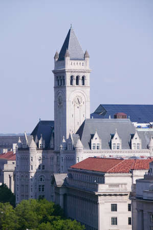 Elevated view of historic Old Post Office tower in Washington D.C. Editorial