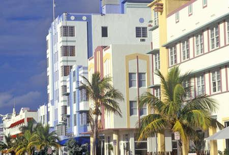 artdeco: Un barrio Art Deco District de South Beach, Miami, Florida Editorial