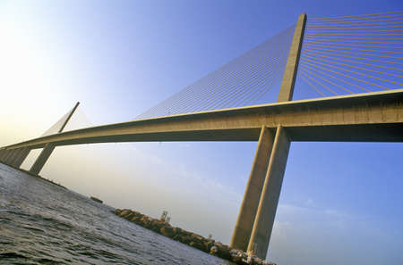 Tampa Sunshine Skyway Bridge, worlds longest cable-stayed concrete bridge, Tampa Bay, Florida Editorial