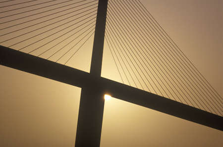 skyway: Tampa Sunshine Skyway Bridge, worlds longest cable-stayed concrete bridge, Tampa Bay, Florida Editorial