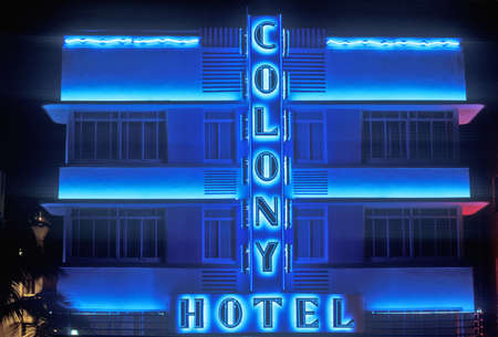 Night shot of The Colony Hotel in south beach, Miami Beach, Florida