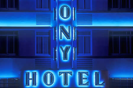 artdeco: Night shot of The Colony Hotel in south beach, Miami Beach, Florida Editorial