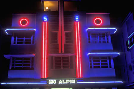 artdeco: Neon lights at night in south beach, Miami Beach, Florida