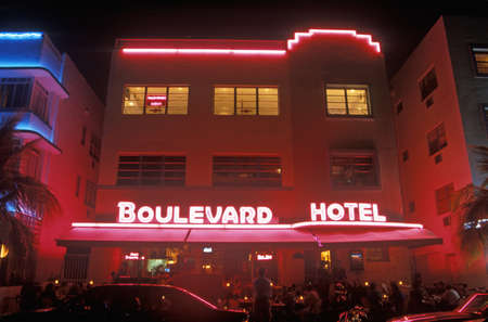 artdeco: Night shot of The Boulevard Hotel in the Art-Deco District of south beach, Miami Beach, Florida