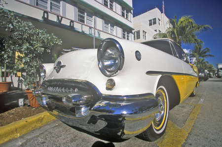 artdeco: 1954 Oldsmobile parked in south beach, Miami Beach, Florida