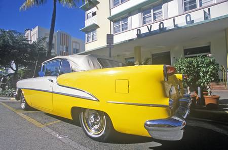 artdeco: 1955 Oldsmobile parked in south beach, Miami Beach, Florida