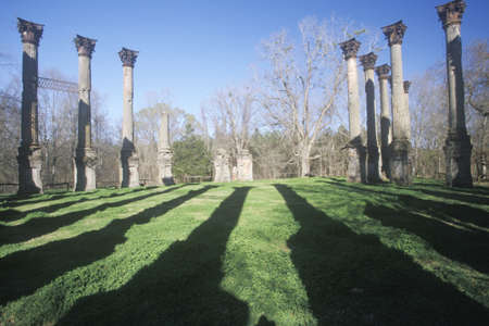 ms: Windsor Ruins are the ruins of the largest antebellum Greek Revival mansion built in the US state of Mississippi, Claiborne County, Mississippi  Editorial