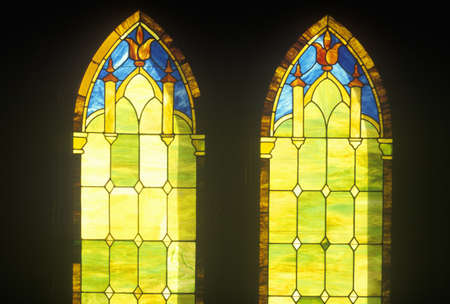 Two Stained Glass Windows in Church, Kauai, Hawaii