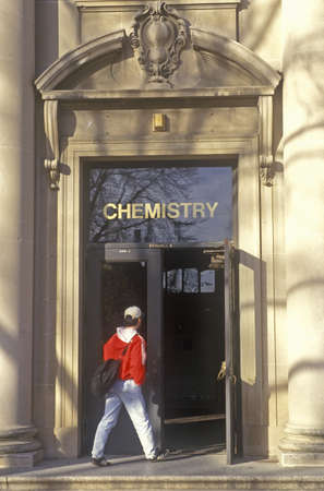 iowa: Student Entering Chemistry Building, University of Iowa, Iowa City, Iowa