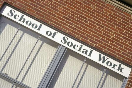 social work: School of Social Work Sign, University of Iowa, Iowa City, Iowa