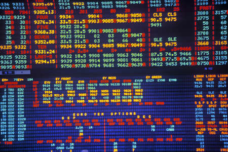 trading board: Big Board at the Chicago Mercantile Exchange, Chicago, Illinois